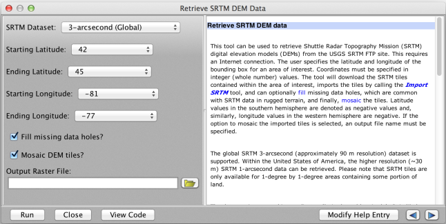 Whitebox's new Retrieve SRTM Data tool