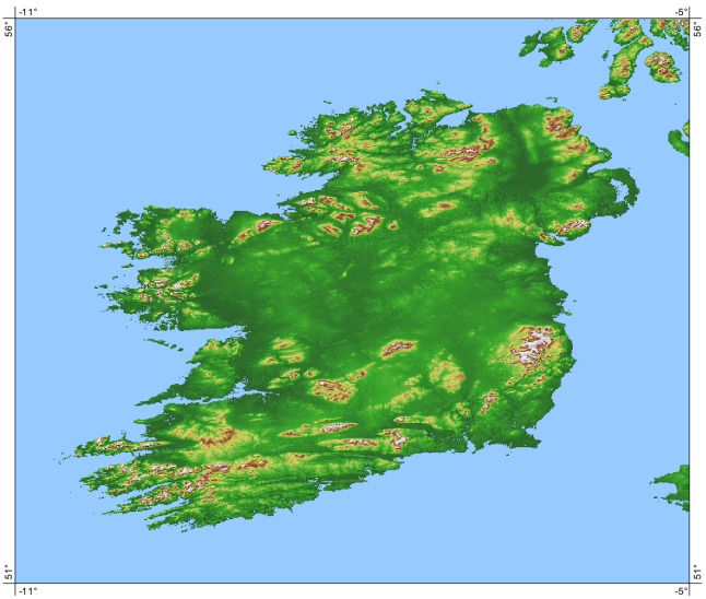 SRTM DEM of Ireland
