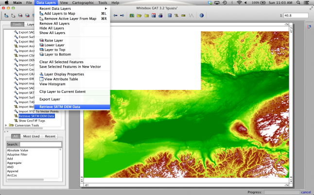 SRTM data in Whitebox GAT