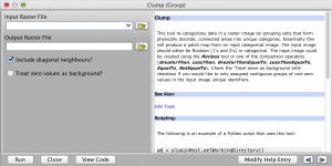 The Clump tool dialog. Notice the View Code button common to all tool dialogs.