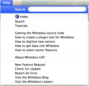 Whitebox's Help menu